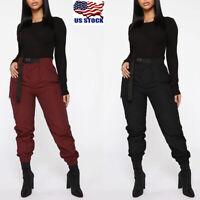 Womens Casual Plain Harem Pants Ladies Cargo Trousers Stretchy Slacks With Belt