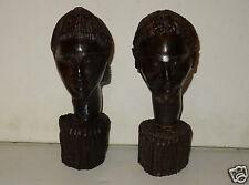 COUPLE STATUETTES ANCIENNES EN PALISSANDRE PROVENANT DE MADAGASCAR ÂGE INCONNU