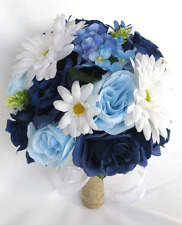 17 Pc Package Wedding Bouquets Bridal Silk Flowers NAVY Blue ROYAL DAISY Rustic