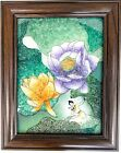 """Gem Stone Art Painting """" Lotus"""" Exceptional Rare Handmade Collectible Wall Decor"""