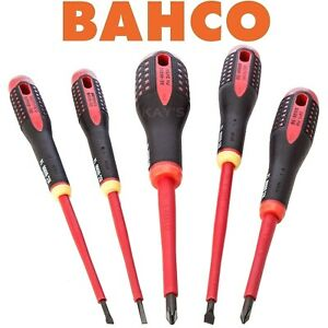 BAHCO BE-9882S VDE Screwdriver Set 5 Piece 1000V Insulated Pozi & Slotted
