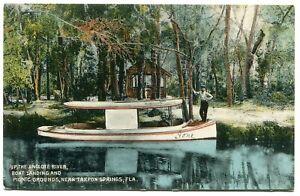 Tarpon Springs, FL. Man, boat & shed on the Anclote River, c.1910. Florida.