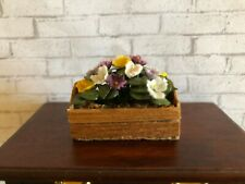 ARTISAN DOLLHOUSE WINDOW BOX POTTED PANSIES  1:12  **NR**