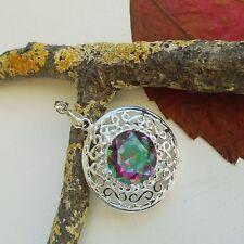 Regenbogen Mystic Topas, rund, facettiert, Amulett, Anhänger, Silber plattiert