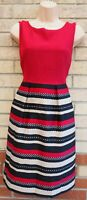 CAMEO ROSE BURGUNDY RED BLACK STRIPED SLEEVELESS SKATER A LINE FORMAL DRESS 16