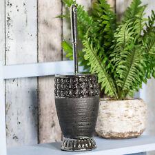 Black Dark Grey Ceramic Toilet Brush & Holder Set Bathroom Decor Accessories