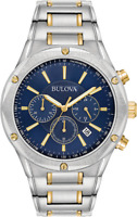 Bulova Men's 98B284 Quartz Chronograph Blue Dial Two-Tone Bracelet 43mm Watch