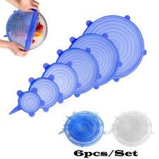 6pcs универсальный силиконовый стрейч на всасывании крышки кухонный крышка сковорода чаша пробка