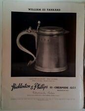 Hicklenton and Phillips Print Ad 1950 William III Tankard RARE VHTF