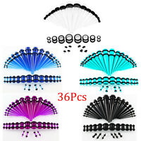 36Pcs Ear Stretching Kit 14-00g Acrylic Tapers and Plugs Ear Gauges Expander Hot