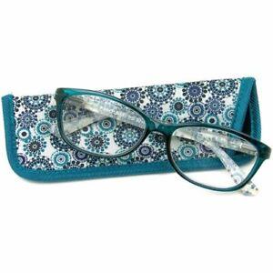 Foster Grant Reading Glasses Womens Gwennie Blue Cat Eye Fashion Readers +1.00