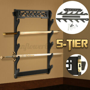 5-Tier Sword Holder Wall Mount Samurai Stand Display Katana Wall Hanger Rack AU