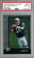 Peyton Manning Colts 1998 Bowman Chrome Preview #BCP1 Rookie Card RC PSA 10 GEM
