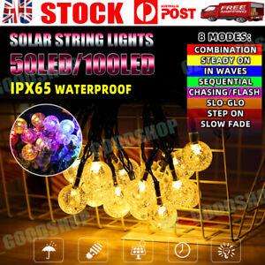 12M 100 LED Solar Powered Fairy String Lights Outdoor Garden Party Wedding Xmas