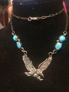 Vintage Signed Sterling Silver Turquoise Cabochon Eagle Pendant Necklace