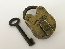Lock Old Vintage Brass Padlock With Key Rich Patina Collectible 7 Levers Chopps
