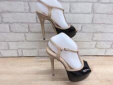 Ladies ALDO Black/Beige Patent Leather Platform Peep Toe Shoes UK 7 EURO 40 NEW