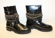 Nuevo Zara Damas Charol Negro Tachonado cadena Mitad de Pantorrilla Botas UK5 EU38