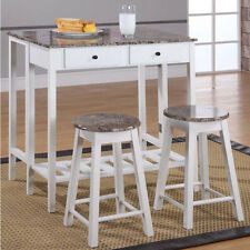 Kitchen Table Set Island Pub Set White Stools Wood Dining Faux Marble Top New