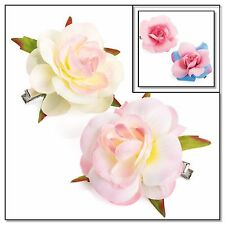 Rose Hair clips,Snaps,Sleepies,Bridesmaids,Festival,Flower girl,Pink,Ivory,Peach
