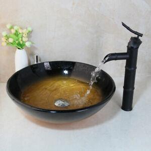 US Bathroom Vanity Glass Vessel Sink With Black Tap Waterfall Mixer Faucet Set