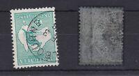 K803) Australia 1913 1/- Blue green Kangaroo first watermark, variety inv. wmk