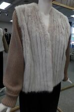 "Sand Dyed Corded Mink Fur 24"" Vest with Zip Off Knitted Sleeves Size 6/8"