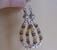 Teardrop Earrings Amber Amethyst Crystals Faux Pearls, 925 Sterling Silver Wires