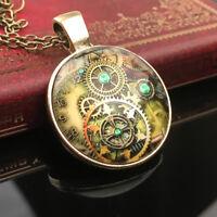 Vintage Steampunk Gear Clock Pattern Necklace Bronze Sweater Chain Necklace