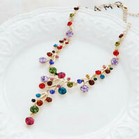 Women Colorful Crystal Chunky Statement Pendant Necklace Party Wedding Jewelry