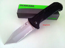"""Schrade 4.5"""" Tactical Tanto Combo Edge Blade SCH102S Folding Pocket Knife EDC"""