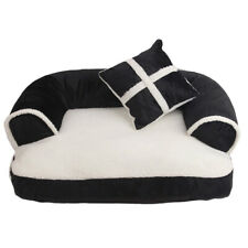 Pet Bed Dog Cat Small Medium with Pillow Teddy Stuffed Black White