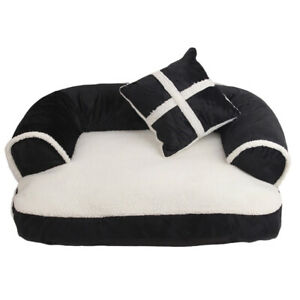 Dog Bed Medium Large with Pillow Teddy Stuffed Dog Basket Nest M L Easy to Clean
