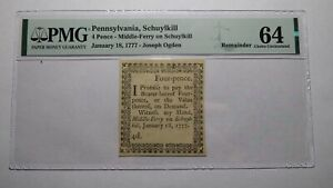 1777 Four Pence Schuylkill Pennsylvania PA Colonial Currency Note Bill! UNC64