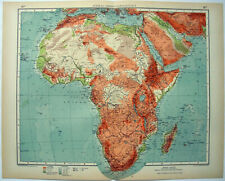 Africa - Large Original 1937 Physical Map by Velhagen & Klasing. Vintage
