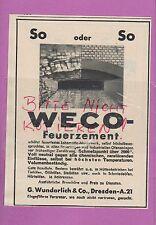 DRESDEN, Werbung 1936, G. Wunderlich & Co. WECO Feuer-Zement