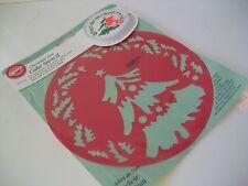 "c WILTON CHRISTMAS TREE HOLLY 8"" CAKE STENCIL 417-1242 Red Plastic Decorating"