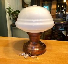Art Deco Schoolhouse Light Fixture Flush Mount Copper w/Glass Shade Industrial
