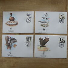 LOT TIMBRES 4 FDC WWF ANIMAUX OISEAUX SUEDE / WWF STAMPS FDC ANIMALS BIRDS