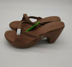 """NEW Women's CROCS Brown Wedge Heel Sandals Size 10 W LOGO Strappy 3.5"""" heel"""