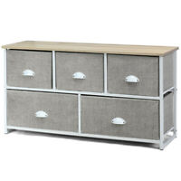 5 Drawers Dresser Storage Unit Side Table Display Organizer Dorm Room Wood White