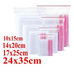 100 Zip Lock Plastic Resealable Bags Clear Grip Self Seal Polythene Poly Bags