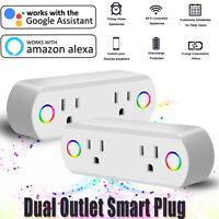 Smart Plug Dual Outlet WIFI Socket Switch Remote Control Timer Google Home/Alexa