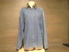 STYLES TO GO Ladies Sz L 100% Cotton LONG Sleeve Blouse Button Front  BLUE
