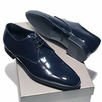 Giorgio Armani Navy Blue Patent Leather Tuxedo Dress Oxford Men's Shoes X2C036