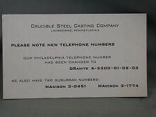 Ink Blotter Crucible Steel Casting Co Landsdowne Pennsylvania Advertising