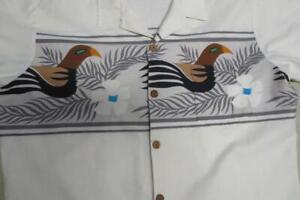 Vtg Ocean Pacific Sunwear Hawaiian Op Art Shirt Parrot Bird Graphic Size L/XL