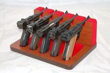 Pistol 5 Gun Rack Stand Luger Ruger Mahogany Red Cabinet Safe