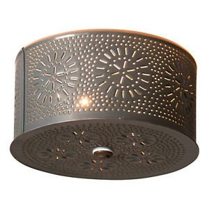 Irvin's Country Tinware Round Ceiling Light with Chisel in Country Tin