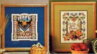 ✔️ Set 2 Fall Cross Stitch Charts - Country Harvest & Autumn Bounty Give Thanks